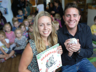 Lucy and Steve with their children's book 'Hedgehugs'.
