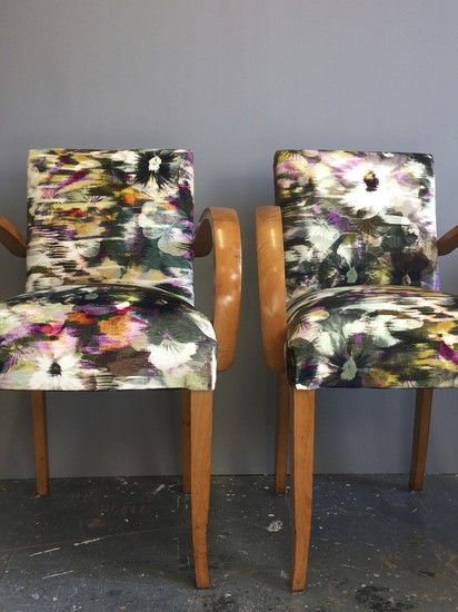 A pair of French Bridge Chairs covered in Kanzai Romo velvet.