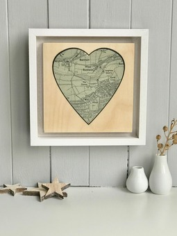Personalised Heart Location Map printed on wood