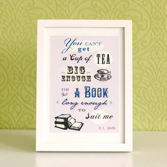 Cup of Tea Book Lover's Print