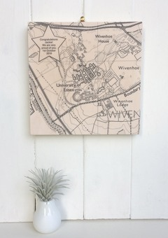 Personalised University Graduation Map printed on wood