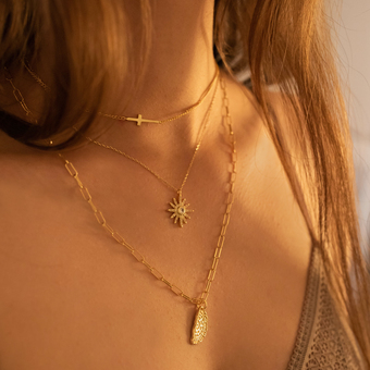 Dainty gold cross and paperclip chunky gold chain necklace