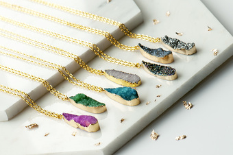 druzy rocks teardrop necklaces