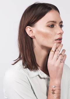 Dainty earrings, bracelets and rings