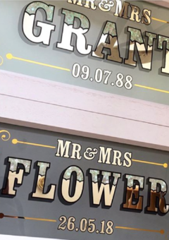 Wedding glass signs