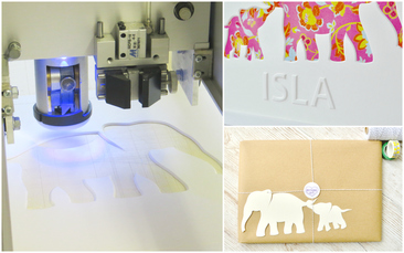 Mount Cutting in progress, the embossed personalisation and gift wrapping