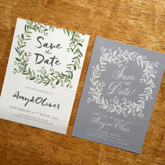 Olive Wreath + French Olive save the date cards