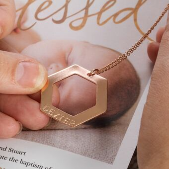 Rose Gold personalised hexagon birthday gift for her