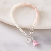 Pearl and pink opal bracelet