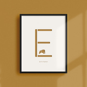 'E' is for Elephant, laser cut print