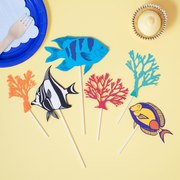 Papercut tropical fish and coral cake topper set