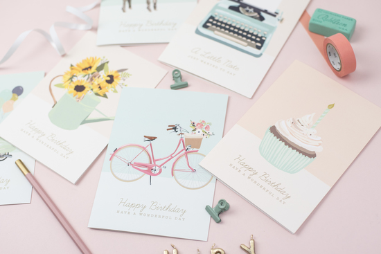 Collection of colourful illustrated greetings cards designed by Sirocco Design