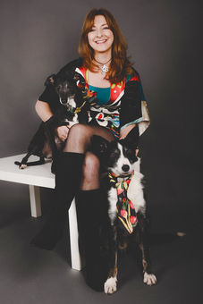 Geraldine Murphy of Saba Jewellery with her two rescue dogs, Murf, a Border Collie and Winnie, a cute black Whippet
