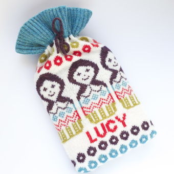 Clova Knits personalised Russian doll hot water bottle cover