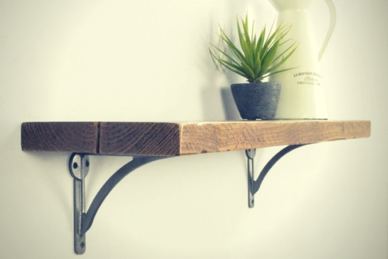 Reclaimed Wood Shelf with Cast Iron Brackets. Handmade in the UK.