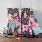 Illustrated wrapping paper for Christmas and birthdays by Gabriella Buckingham Design