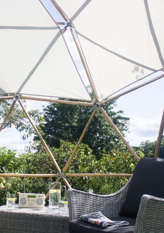 Inside the geodesic garden pod on a summers day