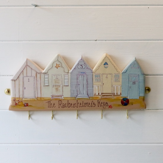Beach huts key ring holder