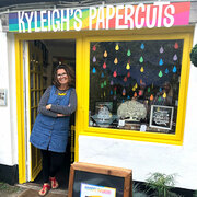 Kyleigh Orlebar outside her papercuts shop in Wimborne, Dorset