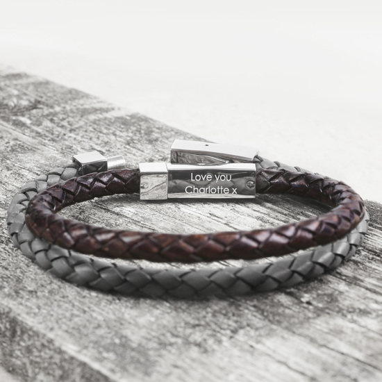 Best selling Personalised Hidden Message Leather Bracelet