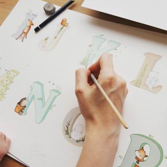 Illustrating a children's alphabet picture