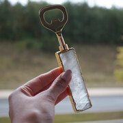 crystal agate quartz gold bottle opener