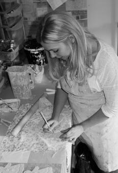 Amanda Mercer Designer and Maker in her home studio