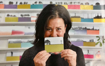 Jacky Al-Samarraie, the founder and designer of The Art Rooms, pictured with her landscape coasters.