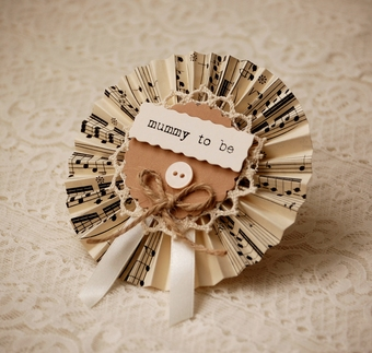 Vintage Music Baby Shower Rosette - mummy to be gift
