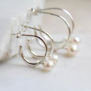 Sterling silver trumpet and pearl earrings