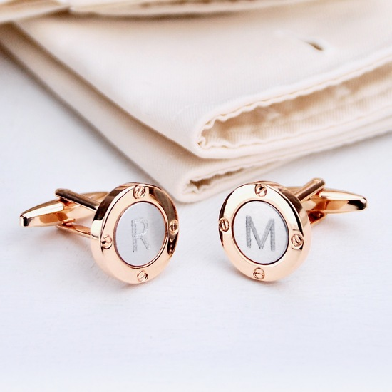 Personalised Silver and Rose Gold Round Porthole Cufflinks with Initials