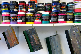 Screen printing inks and squeegee