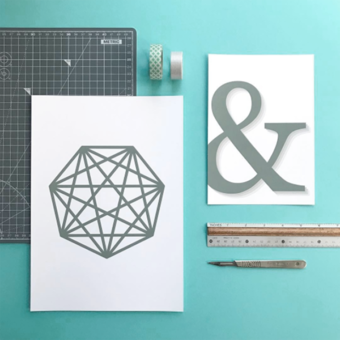 Abstract geometric print and ampersand print