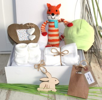 Crochet fairtrade fox new baby hamper