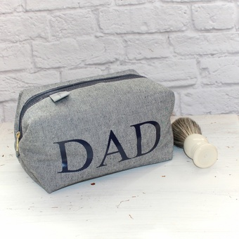 Personalised Dad Print Denim Wash Bag