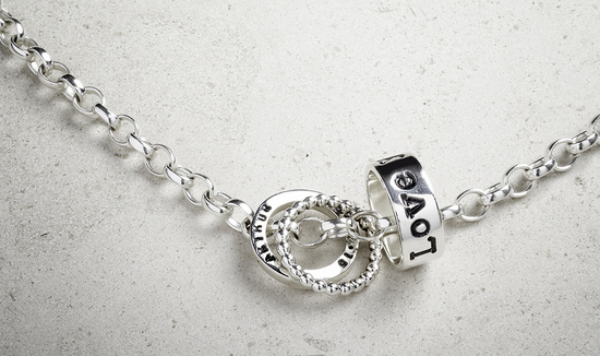 silver love personalised bead, bobbly bead, name birthday bead spinner personalised necklace bracelet jewellery