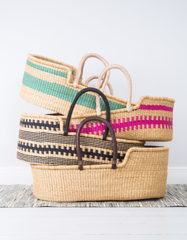 Hand woven Moses baskets from Ghana