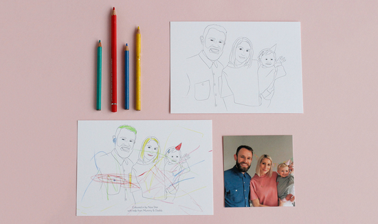 Personalised Colour In Family Portrait Line Drawing Print by Arnold & Bird