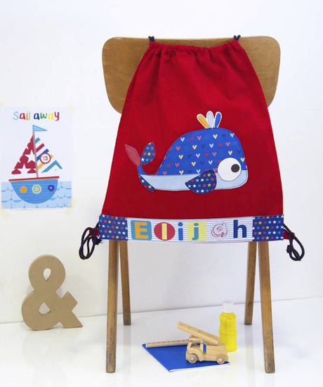 childrens personalised whale bag.