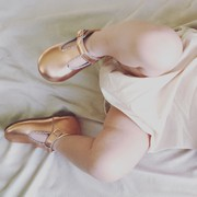 Dolly-Rose rosegold t-bar shoes