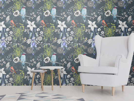 Birds design wallpaper, with hand drawn flowers. Luxury wallpaper for designer interiors.