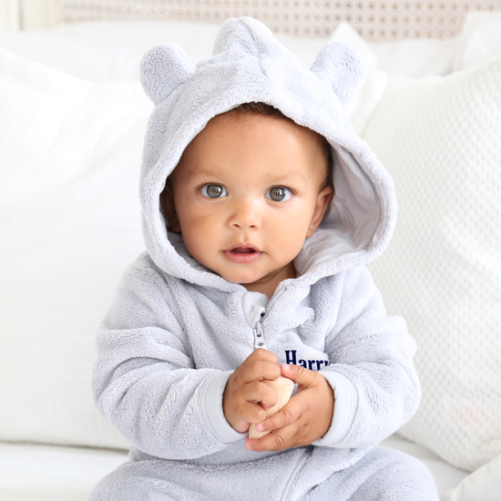 Grey Fleece Onesie