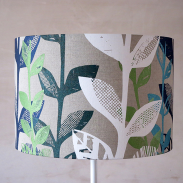 Big leaf lampshade - Blues, green and white