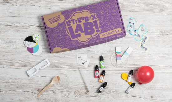 The Investigate Box by Letterbox Lab, a science kit for children available as a science subscription box.