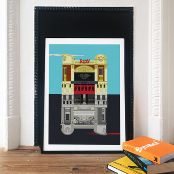 The Ritzy Cinema Illustrated Art Print Poster, London Prints