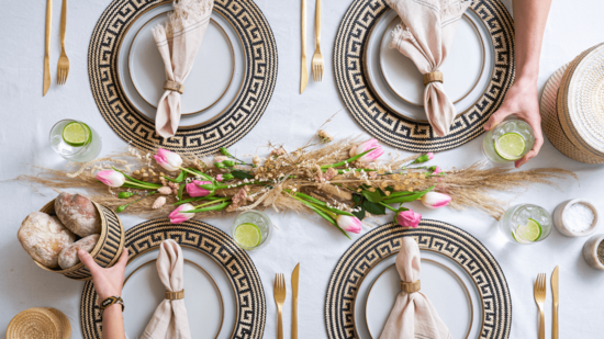 tableware with natural accessories placemats and baskets