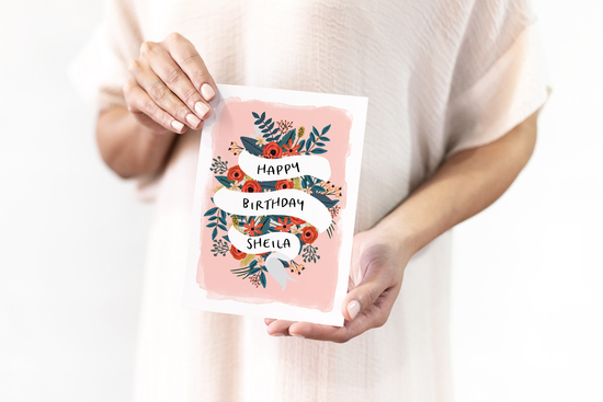 Personalised Floral Banner Birthday Card