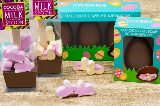 Cocoba Chocolate Easter Hot Chocolate Bombes and Spoons
