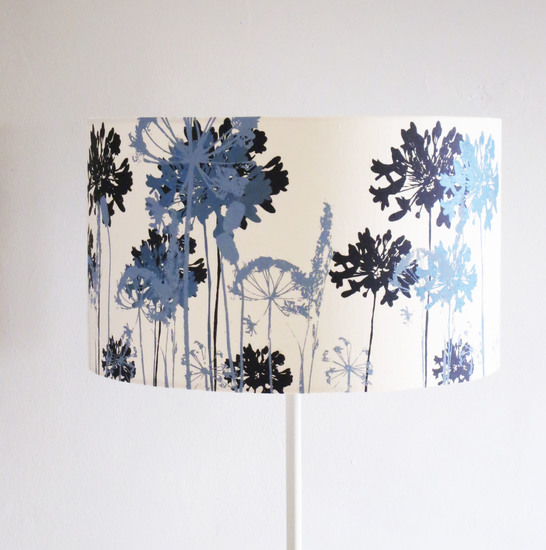 Hand printed linen lampshade emma purdie