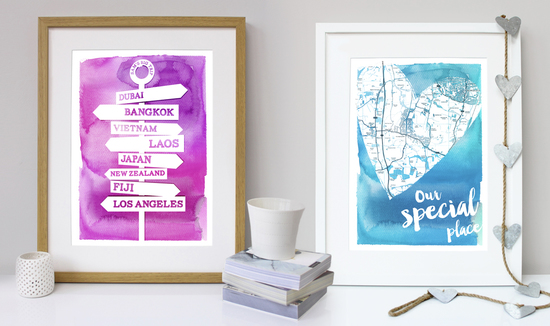 Katy Clemmans personalised wall art, art gifts, personalised travel posters